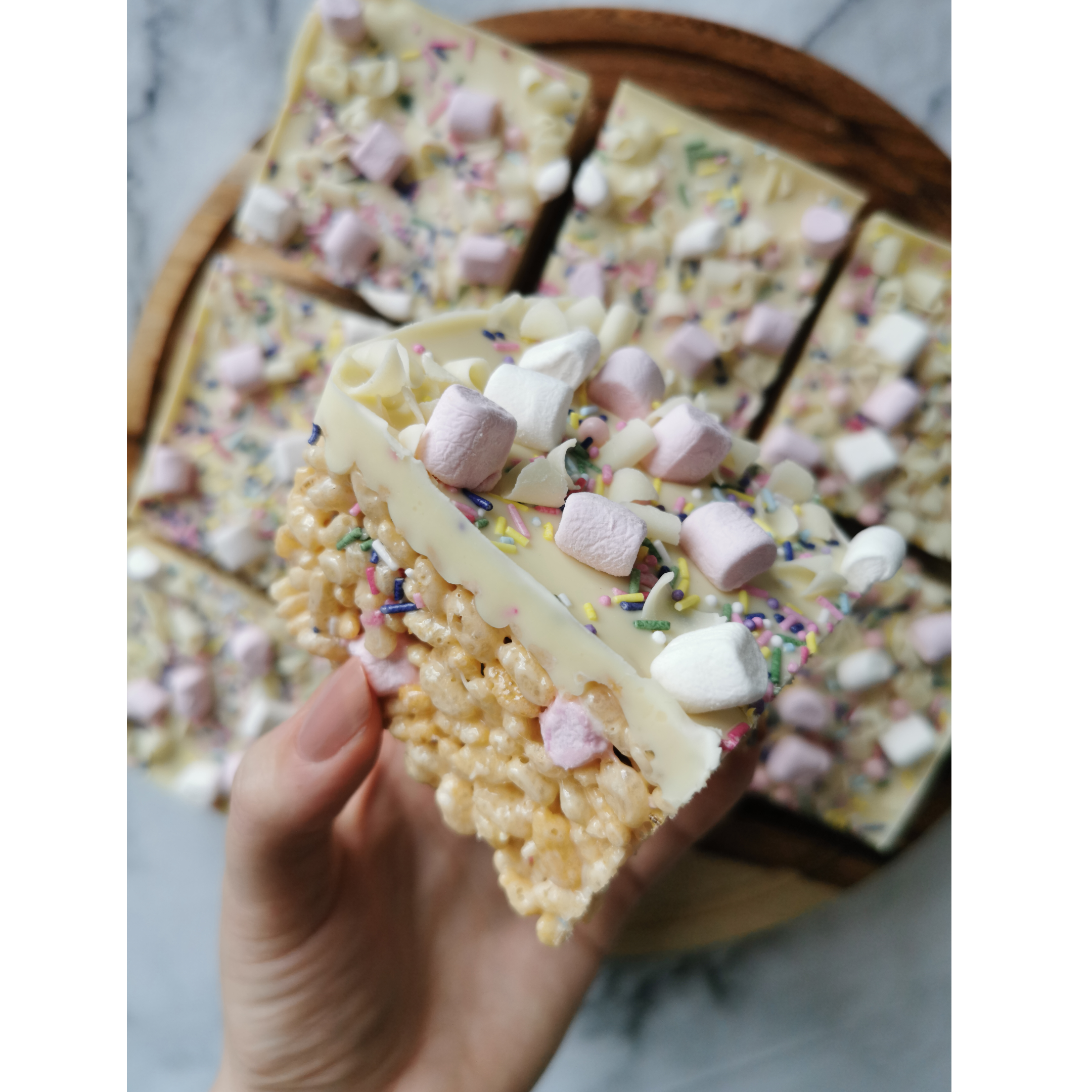 White Chocolate and Marshmallow Rice Krispie Squares