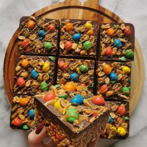 Peanut M&M Snickers Krispie Squares
