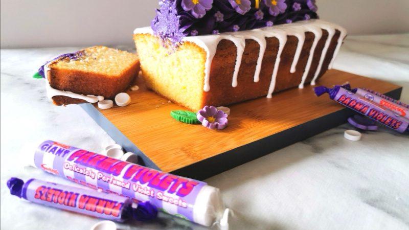Lemon and Parma Violet Drizzle Cake