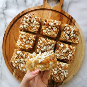Salted Caramel and White Chocolate blondies