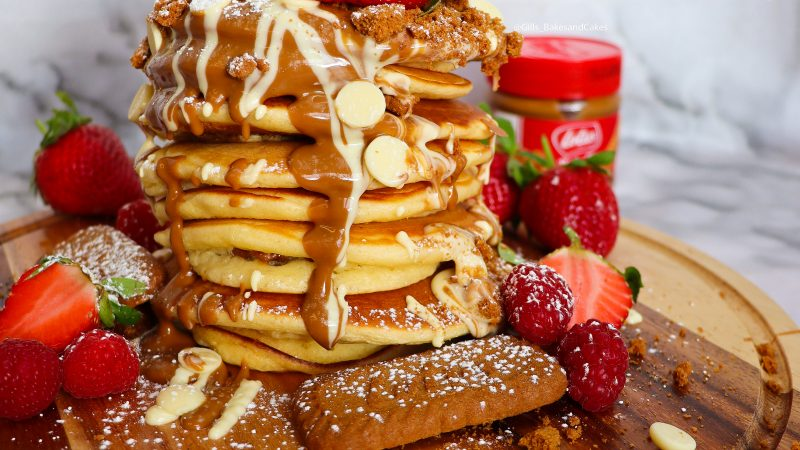 Biscoff and White chocolate Pancakes