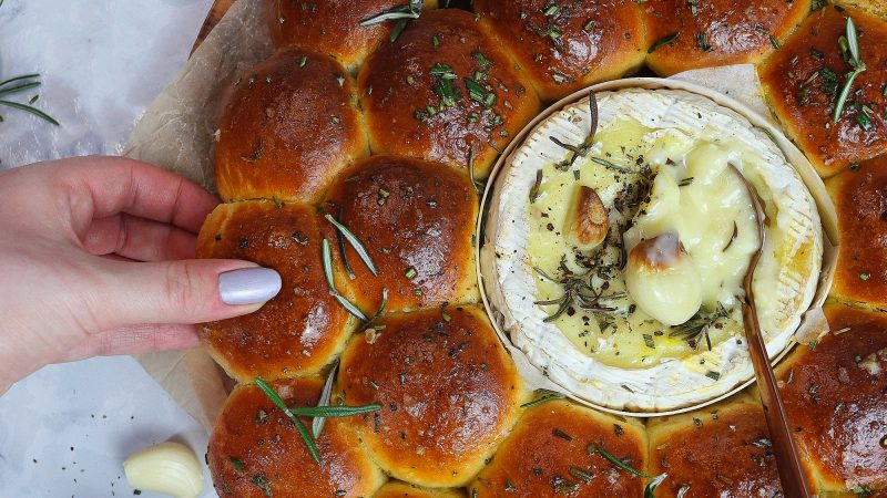 Baked Camembert, Garlic Rosemary Bread Rolls