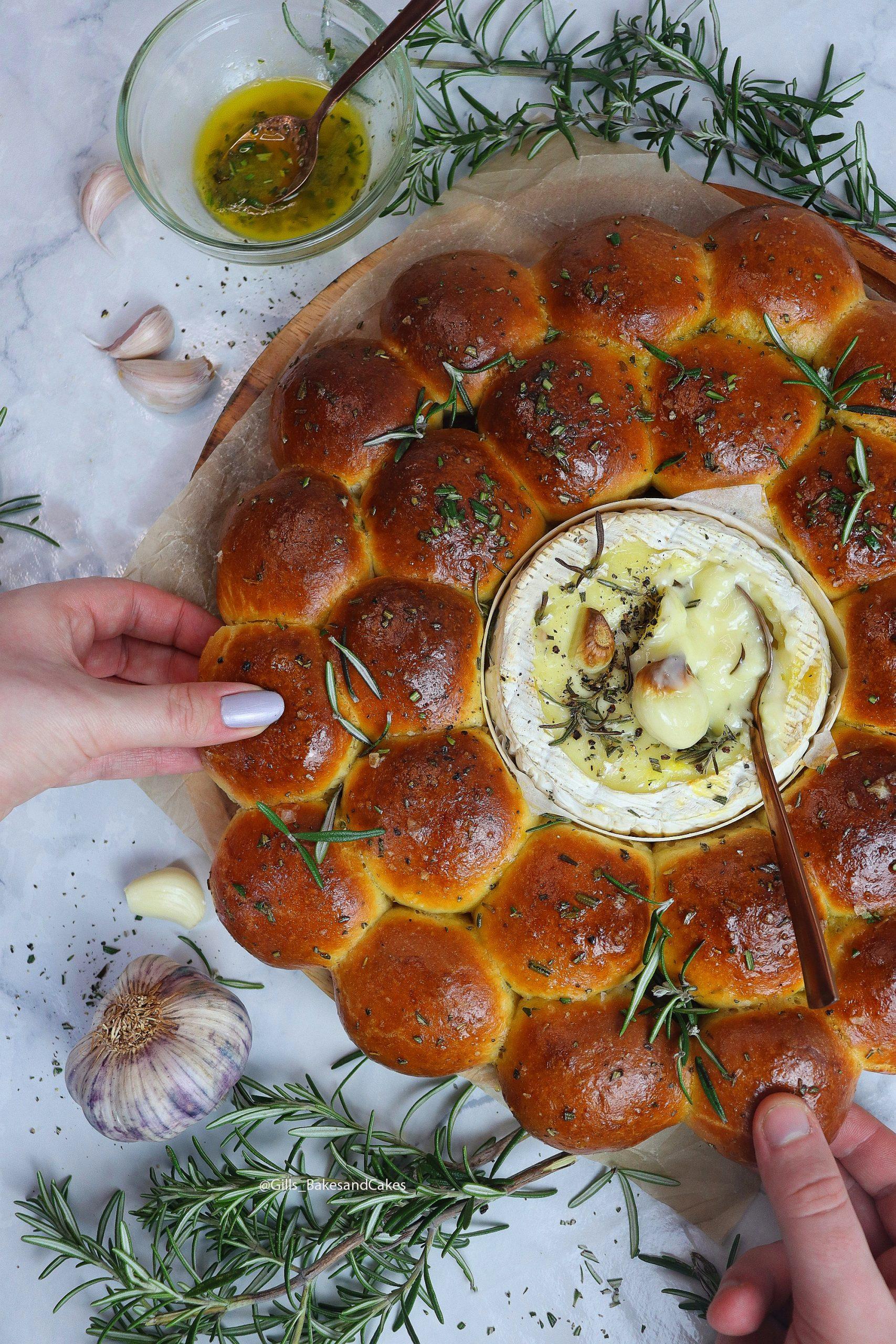 Baked Camembert, Garlic Rosemary Bread Rolls