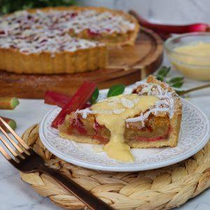 Rhubarb & Custard Bakewell tart