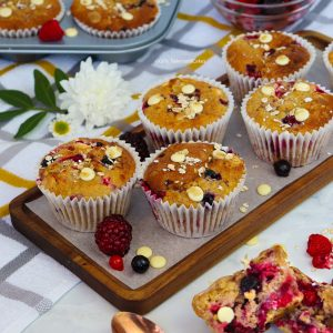 Healthier Mixed Berry & White Chocolate Muffins