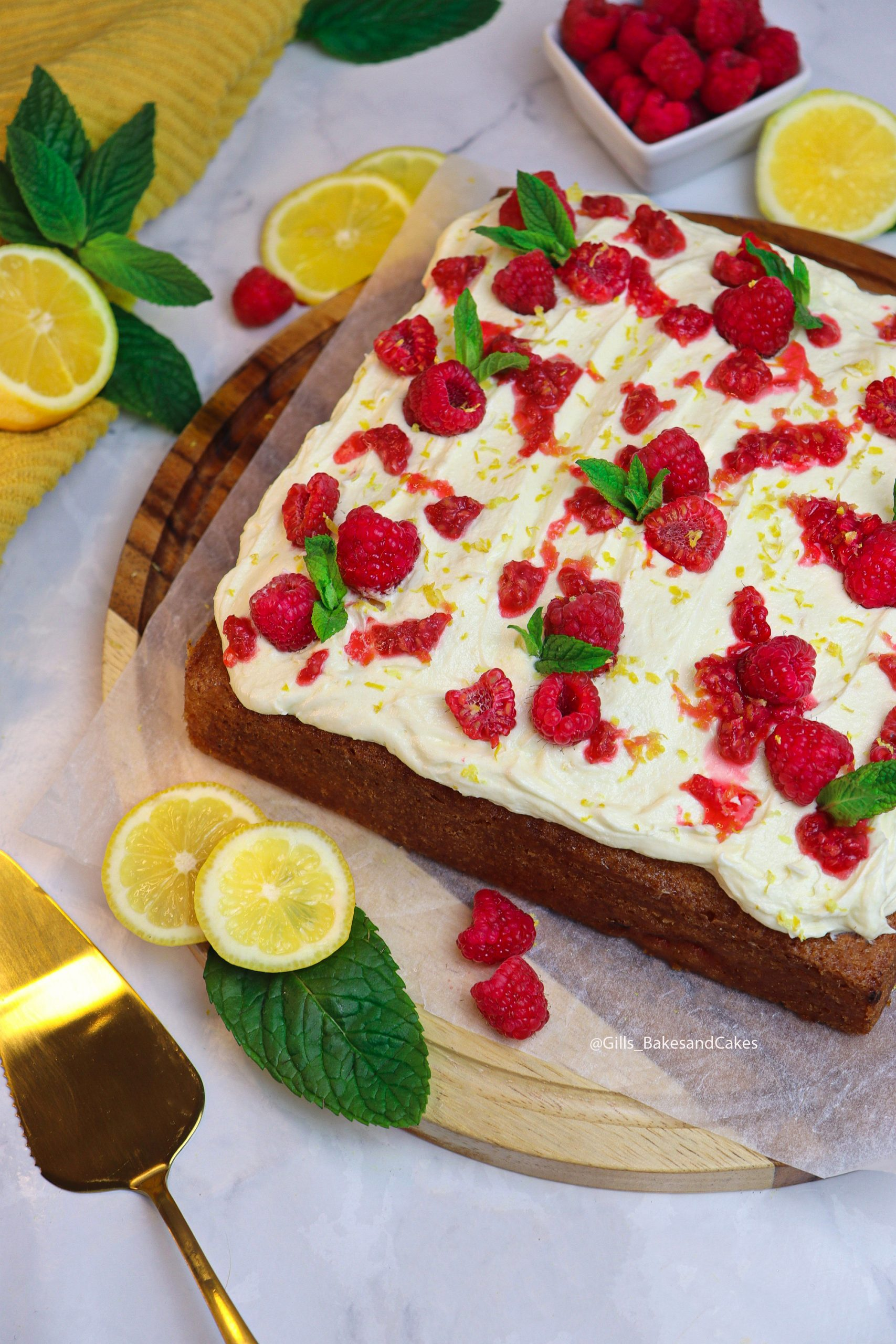 Lemon and Raspberry Traybake Cake